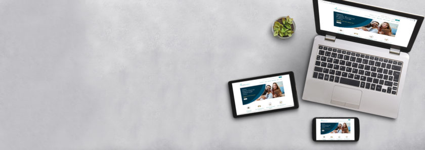 New website tour banner image with homepage on a laptop, tablet and smartphone