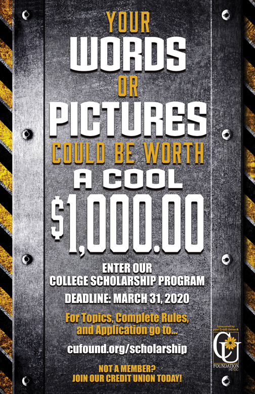Credit Union College Scholarship poster