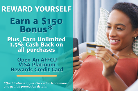 AFFCU Visa Rewards Credit Card Bonus Offer Banner. Young woman laying on couch with phone and credit card