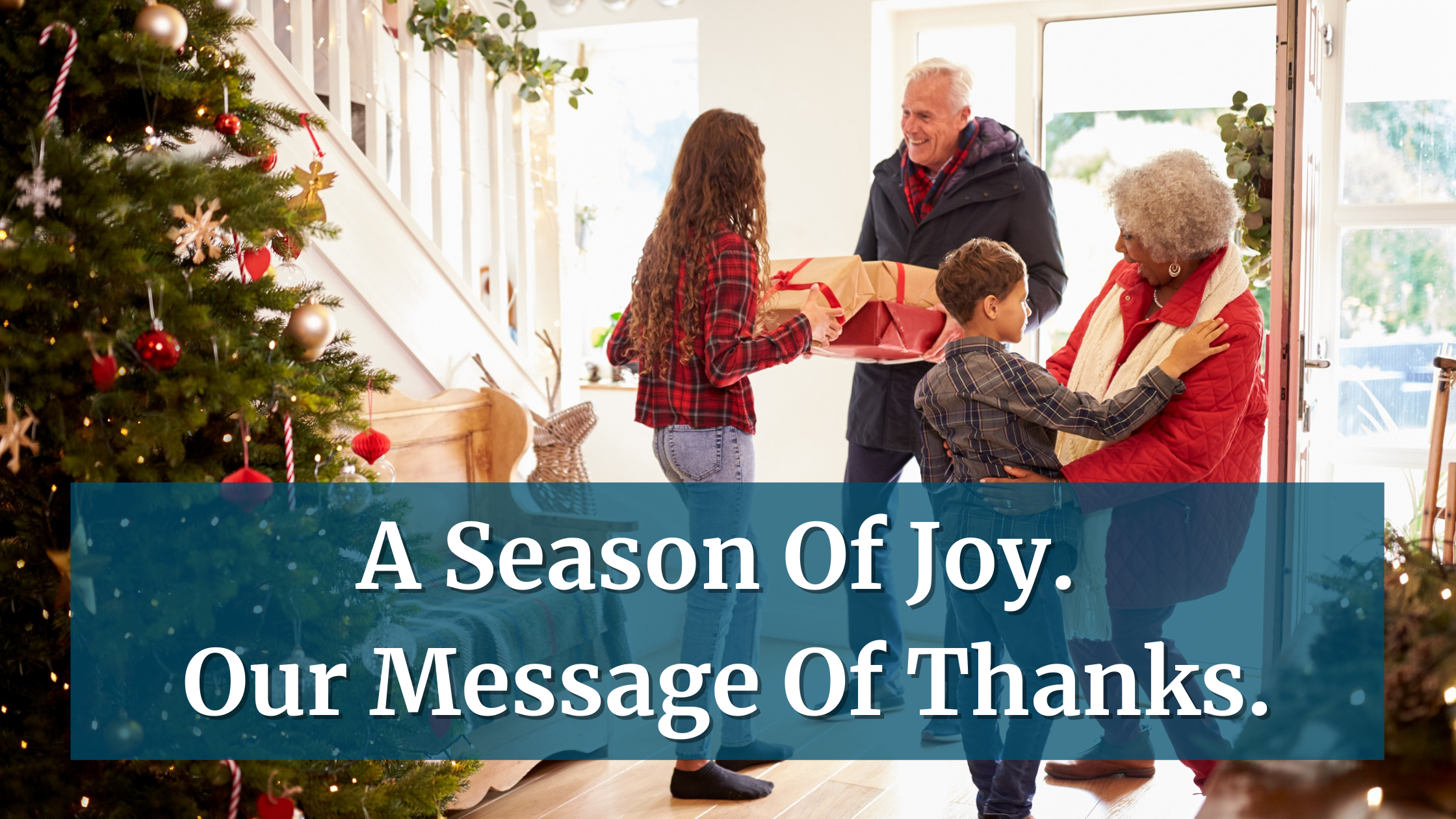 Blog banner. Kids greeting grandparents. AFFCU christmas message of thanks