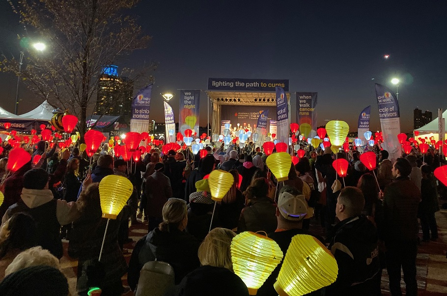Baltimore, MD Light The Night walk crowd with lanterns