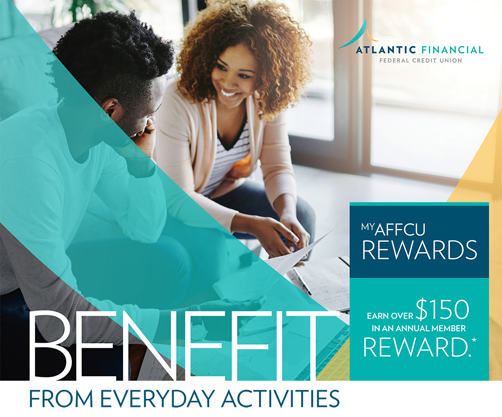 My AFFCu Rewards Banner - Young couple sitting on couch