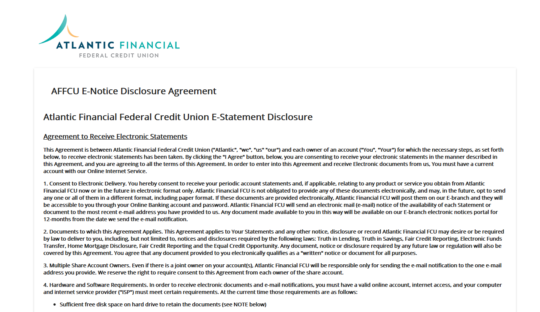 Screenshot of e-statement agreement