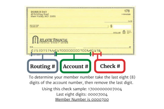 Atlantic Financial FCU Sample Check - How to find member number