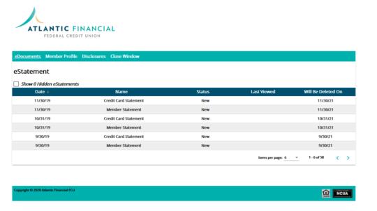 New e-statement portal user screenshot